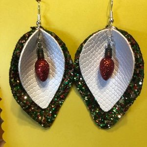 Christmas light layered leather earrings